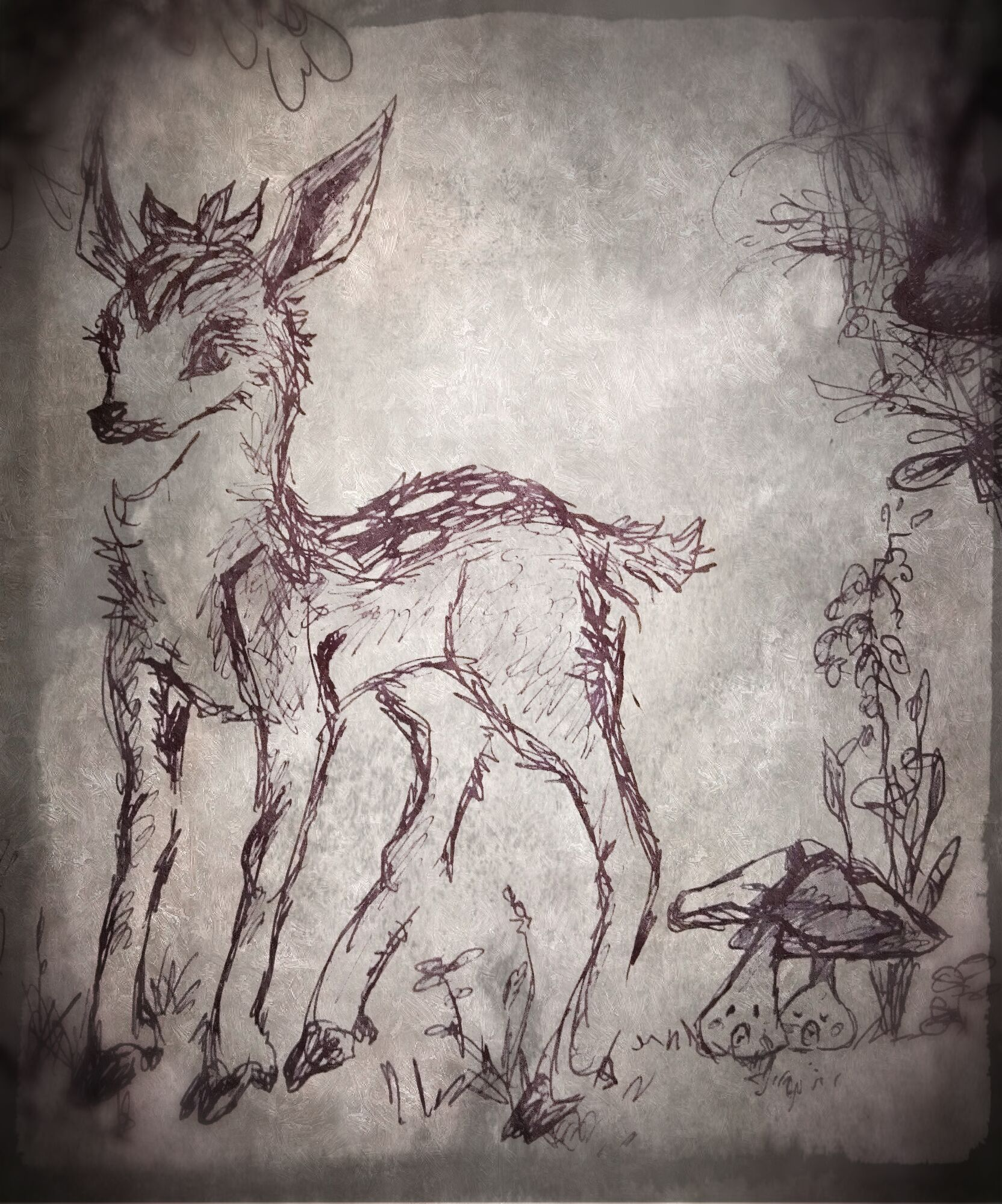 Pokémon-Zeichnung: Sesokitz und Tarnpignon