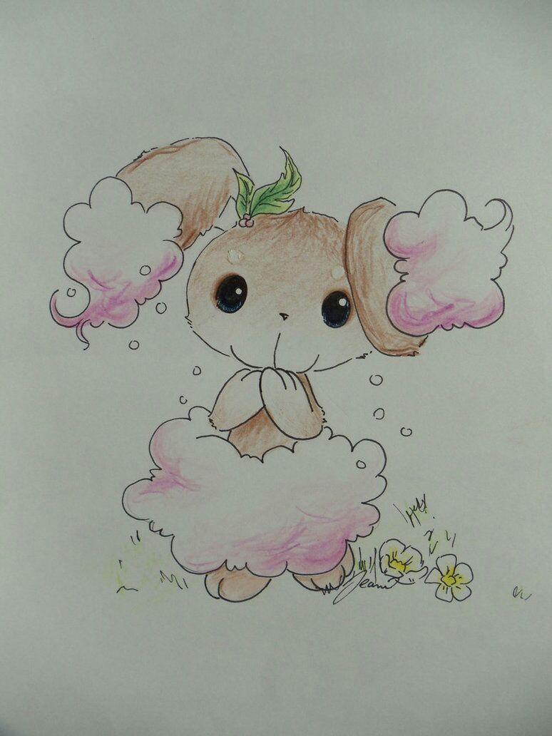Pokémon-Zeichnung: Rosa Wattebäuschchen und Tütü