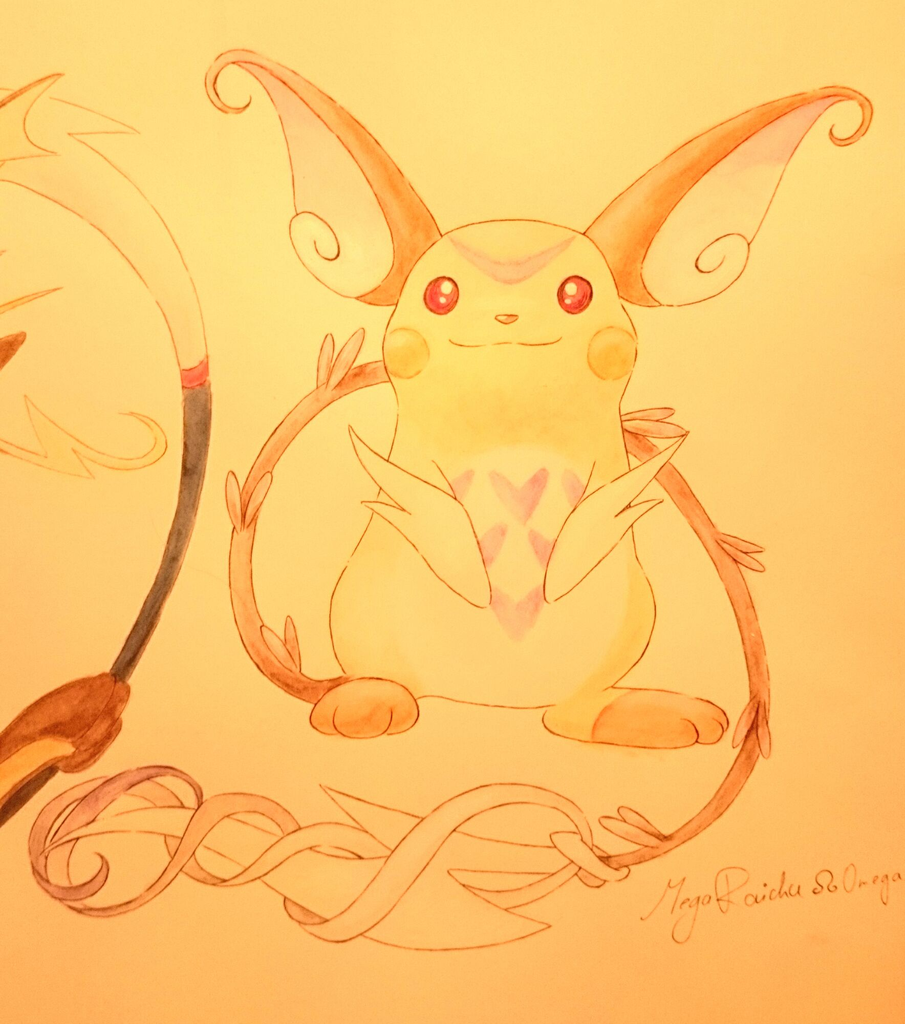 Pokémon-Zeichnung: Mega Raichu Omega finish