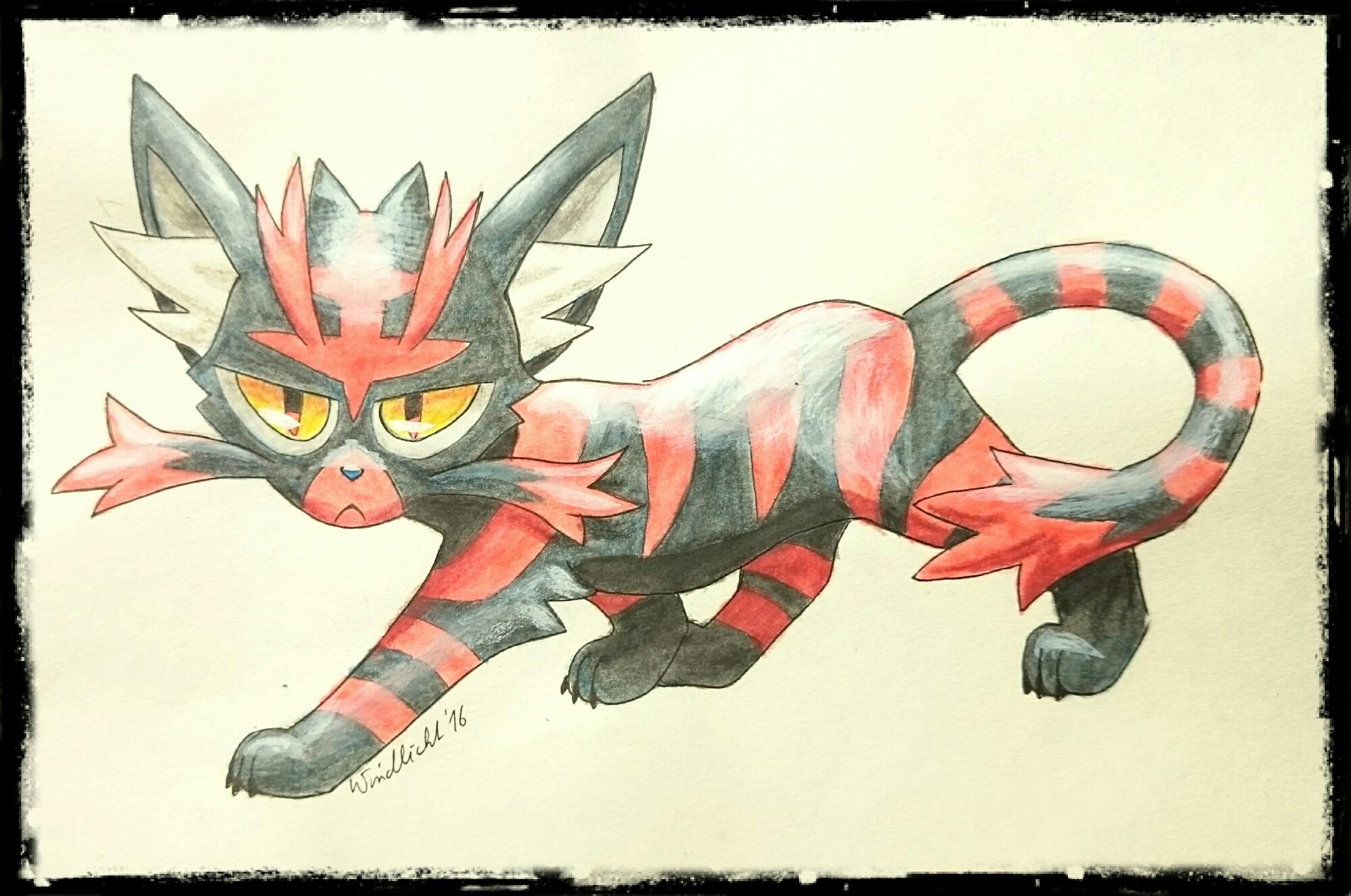 Pokémon-Zeichnung: Entwicklung von Flamiau