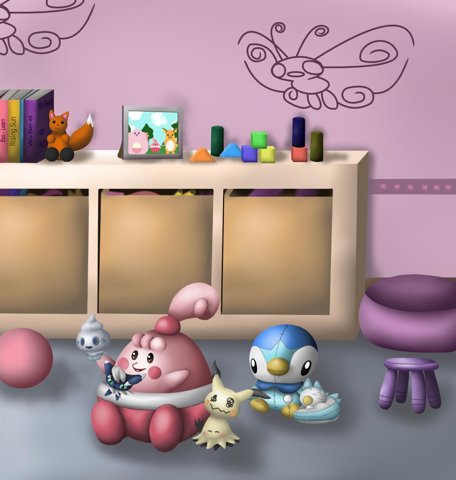 Pokémon-Zeichnung: Wonneiras Spielzimmer