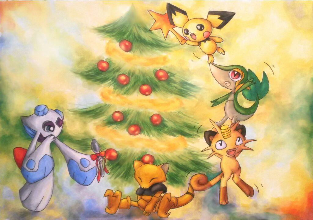 Pokémon-Zeichnung: Weihnachten mit Pokemon
