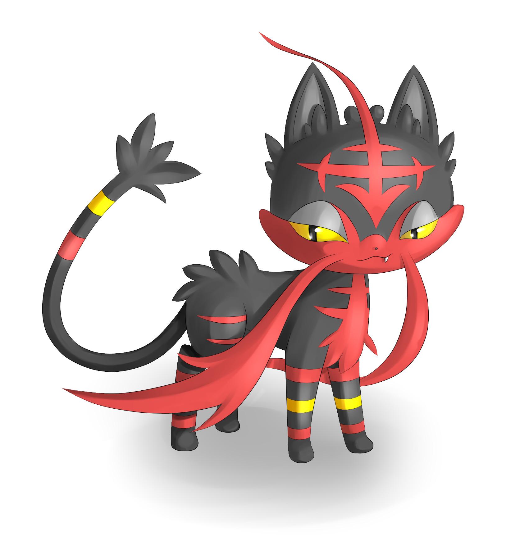 Pokémon-Zeichnung: Flamiau Entwicklung