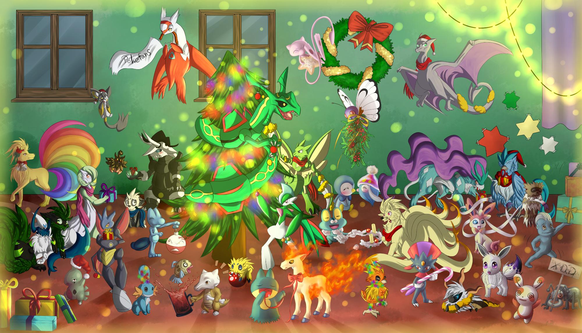 Zeichnung: Frohe Weihnachten, Pokefans! (Pokémon-Fanart)