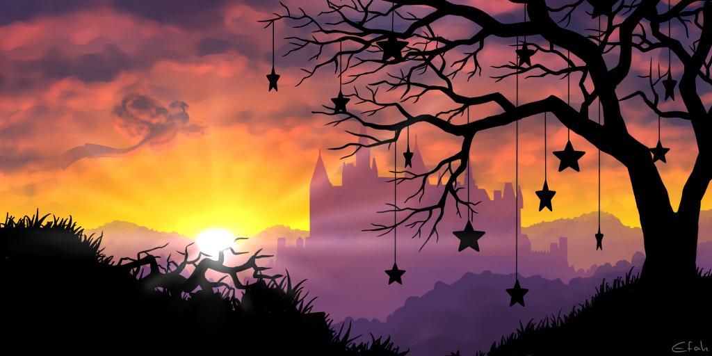 Pokémon-Zeichnung: Sonnenuntergang