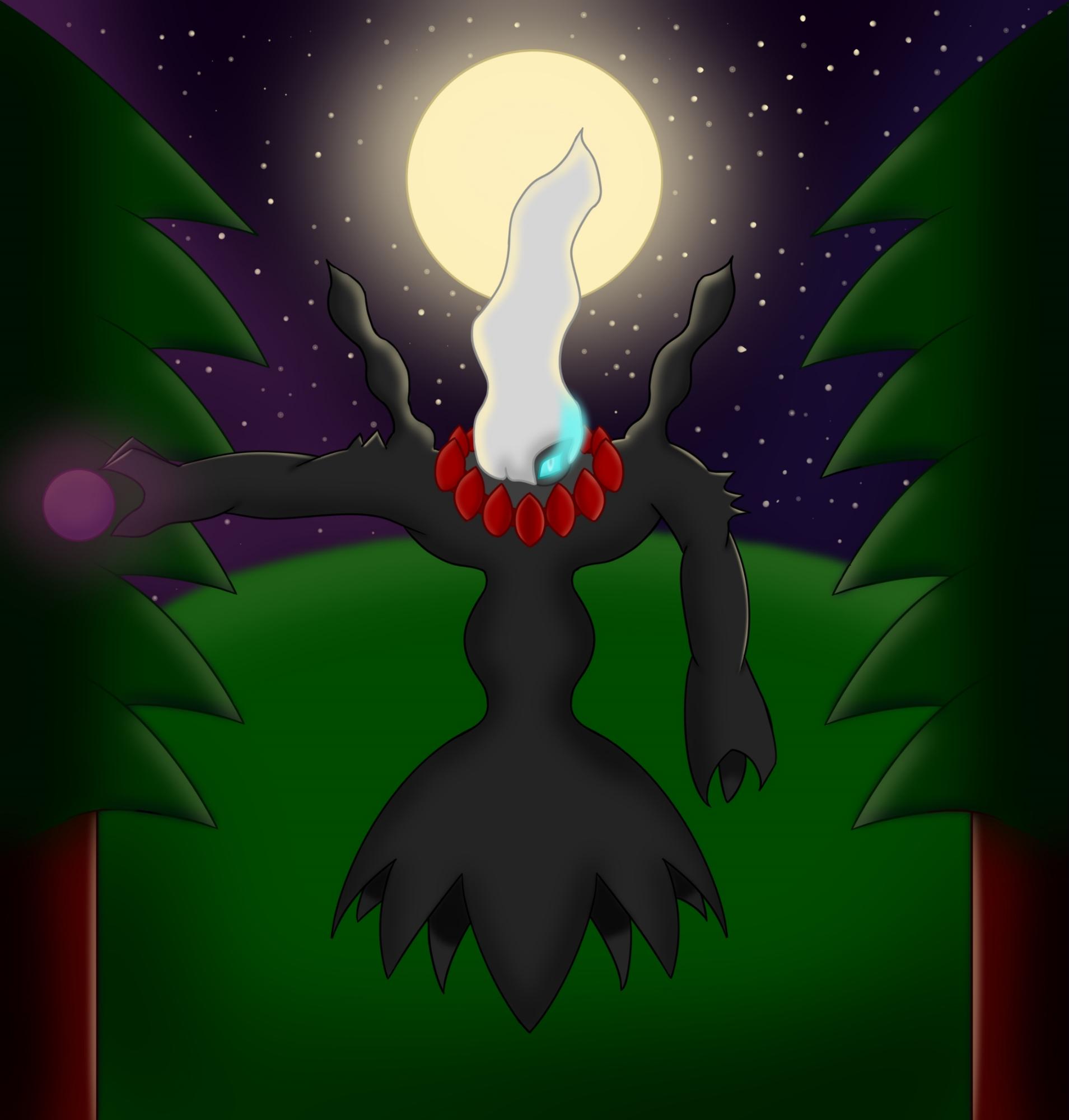 Pokémon-Zeichnung: Darkrai bei Nacht