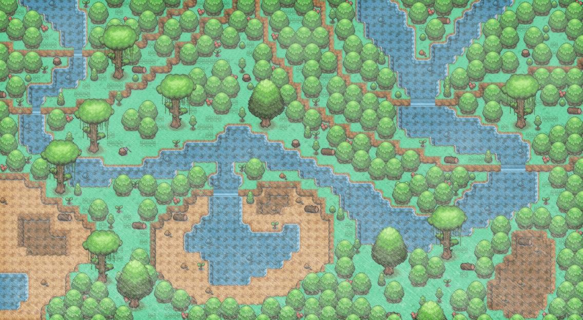 Pokémon-Map: Regenwald mit Regen und Wald.