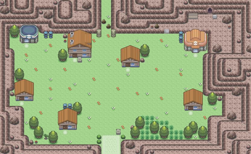 Pokémon-Map: Eine Stadt. Vor einem Berg.