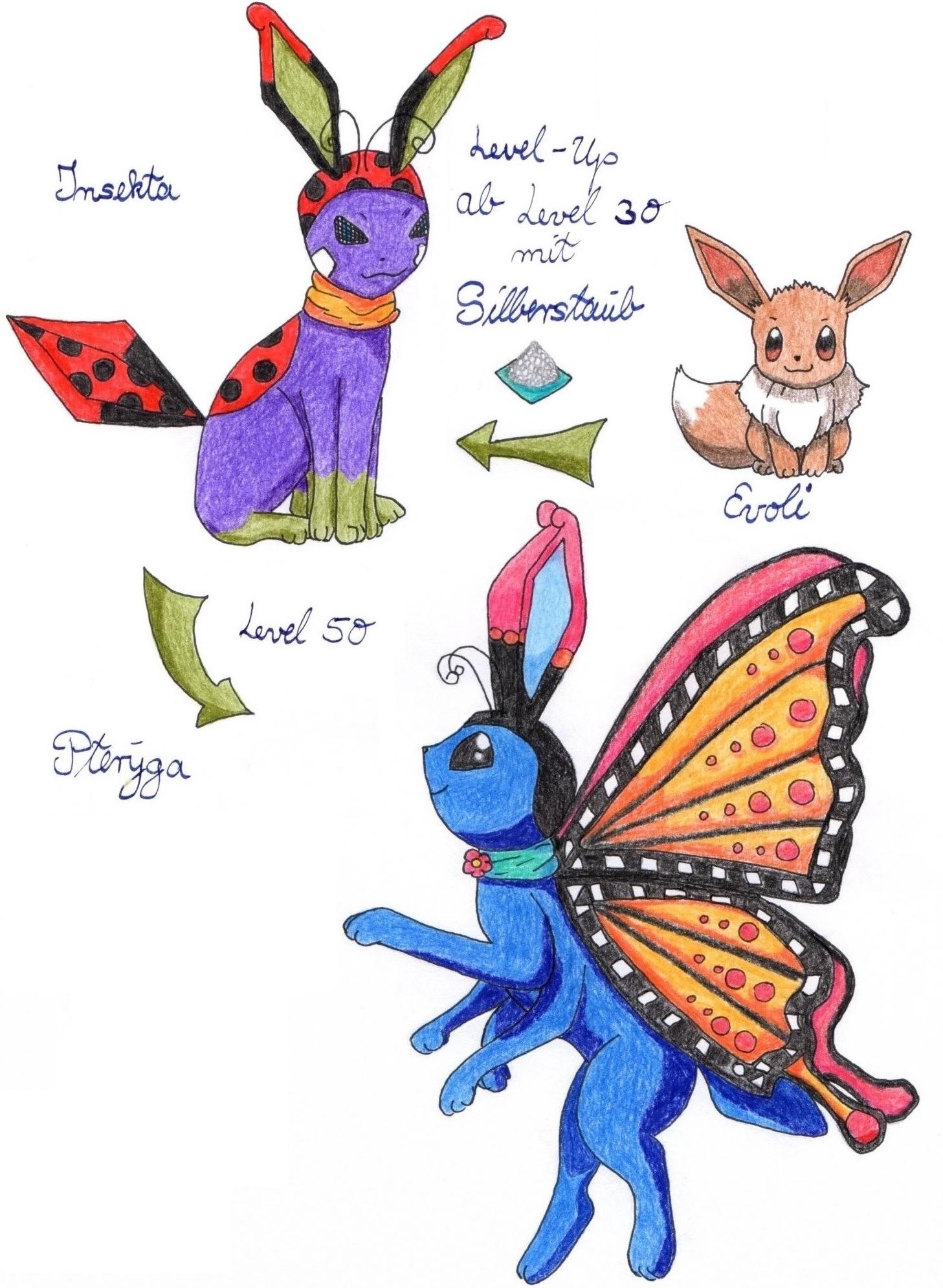 Pokémon-Zeichnung: Evoli-Evolutionen-Insekta