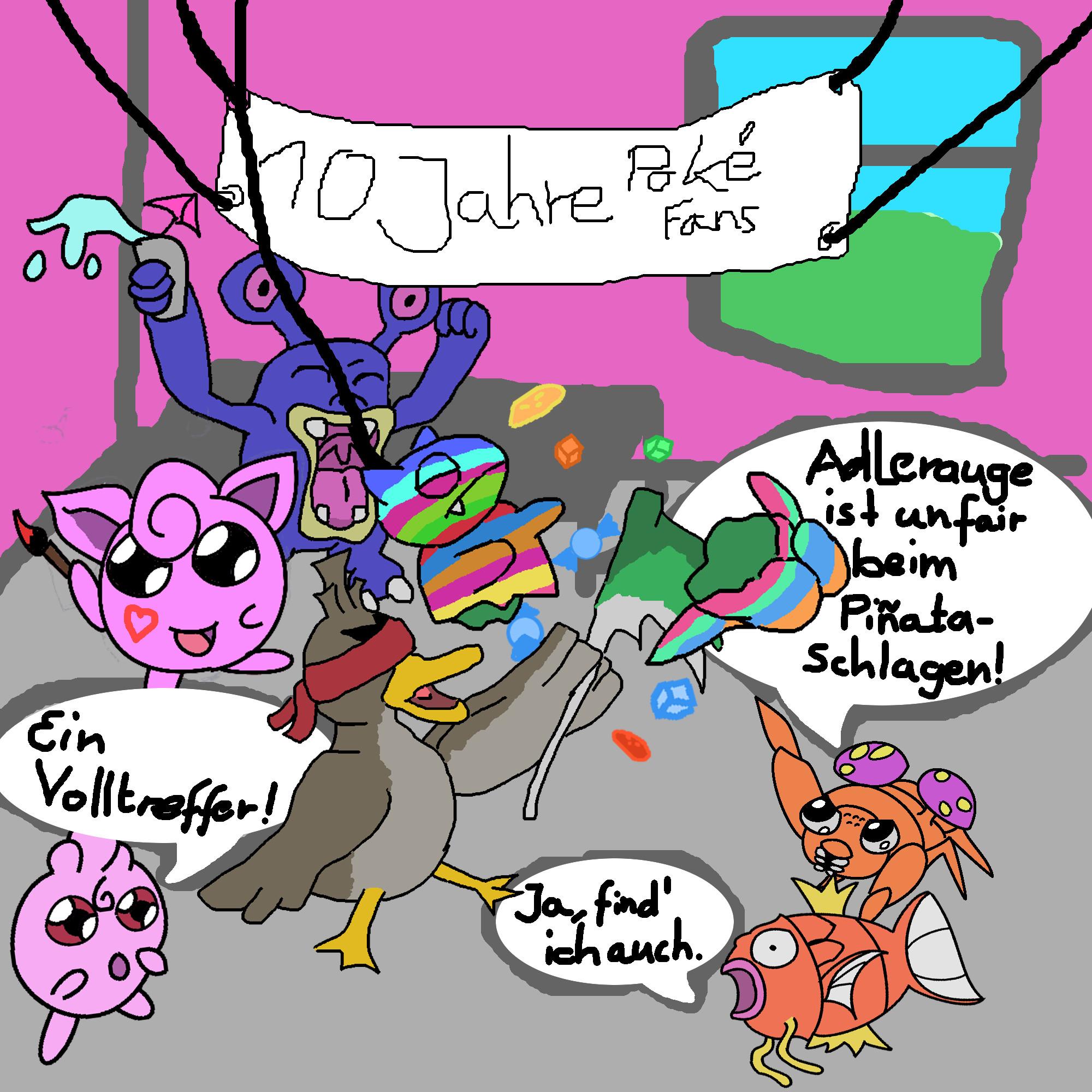 Pokémon-Zeichnung: Pinata Party - Auf weitere 10 Jahre Pokefans ! :)