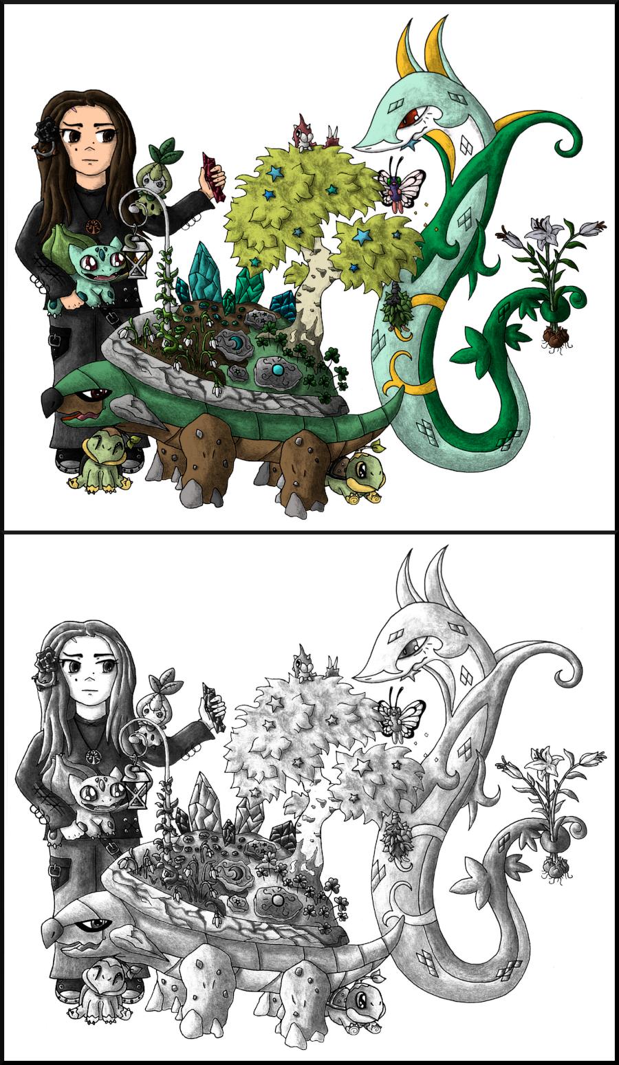 Pokémon-Zeichnung: Gardening