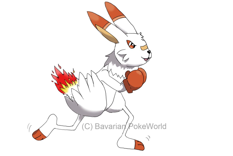 Pokémon-Zeichnung: Boxxlo Stufe 2 von Hopplo - Fakemon