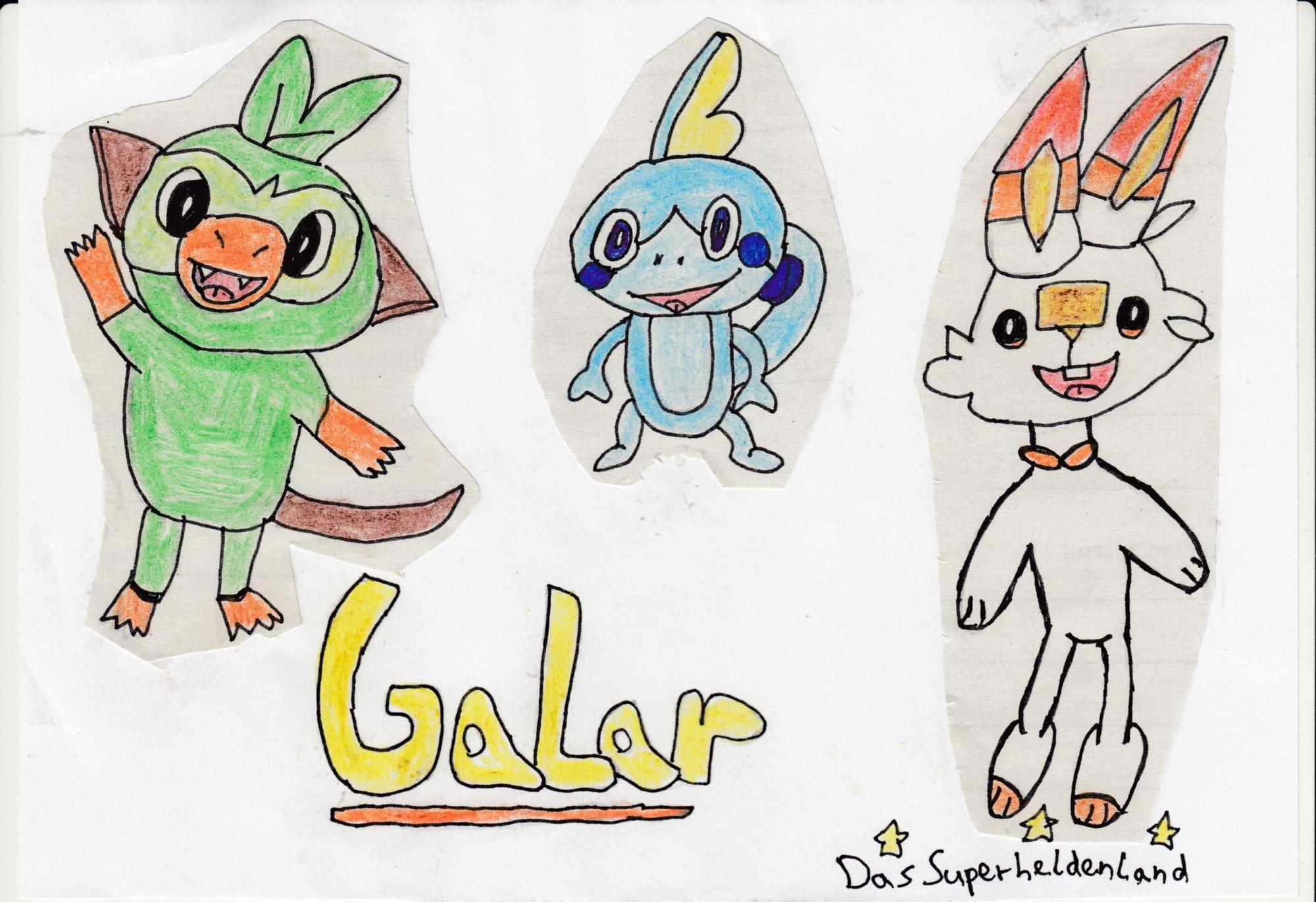 Pokémon-Zeichnung: Galar-Starter
