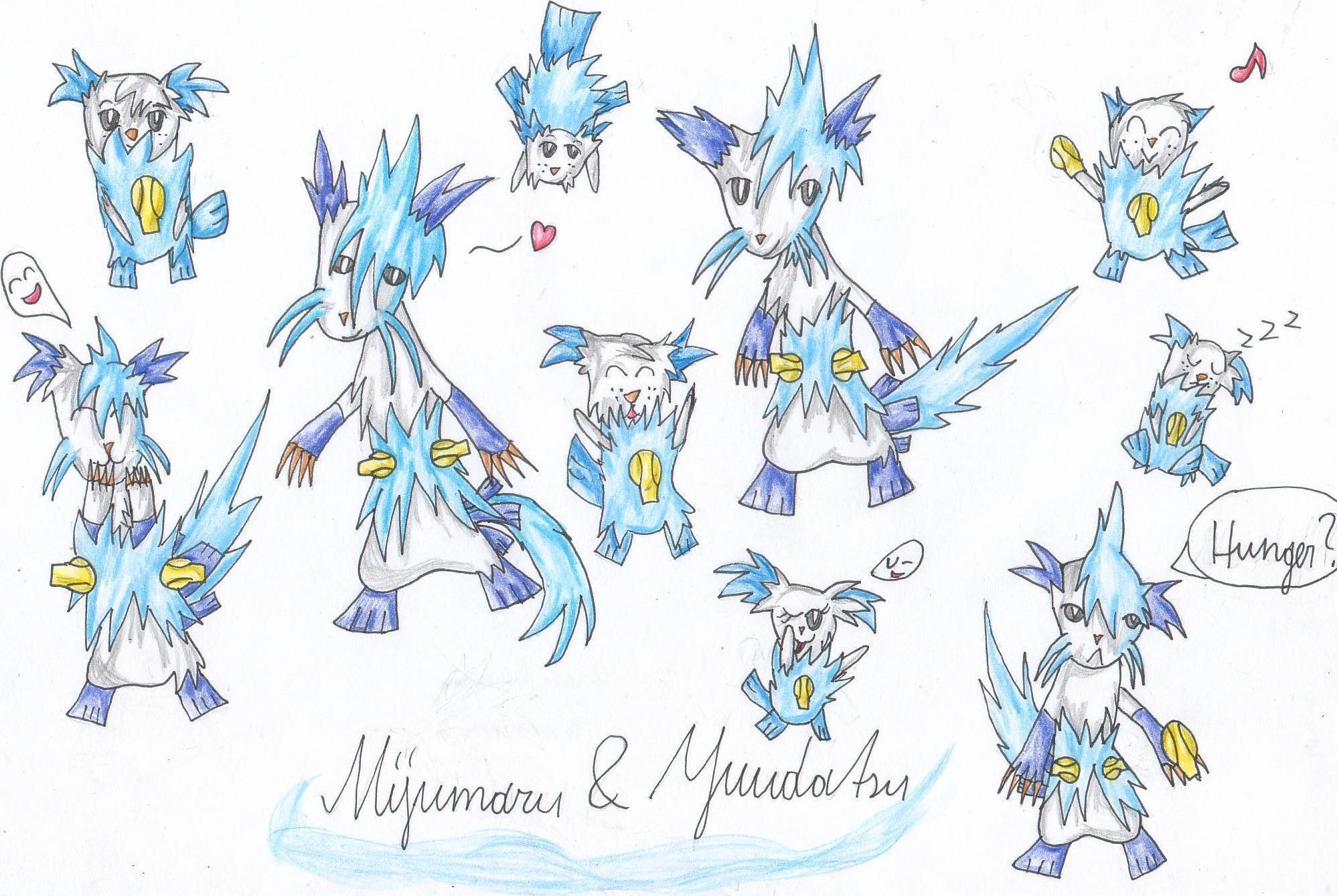 Pokémon-Zeichnung: Mijumaru & Yuudatsu