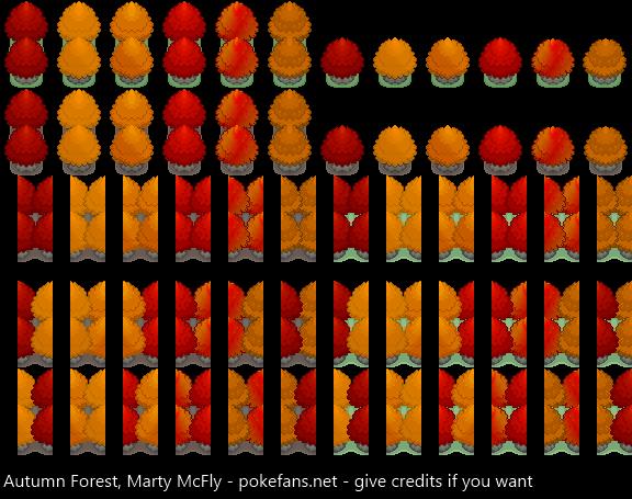 Pokémon-Tileset: Herbstwald R2