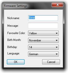 Firmware-Einstellungen bei DeSmuME