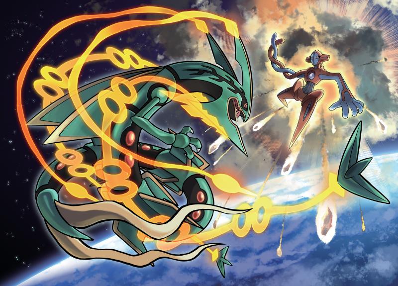 Offizielles Artwork zum Kampf zw. Deoxys und Rayquaza