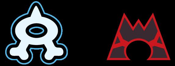 Logo von Team Aqua (links) und Logo von Team Magma (rechts)