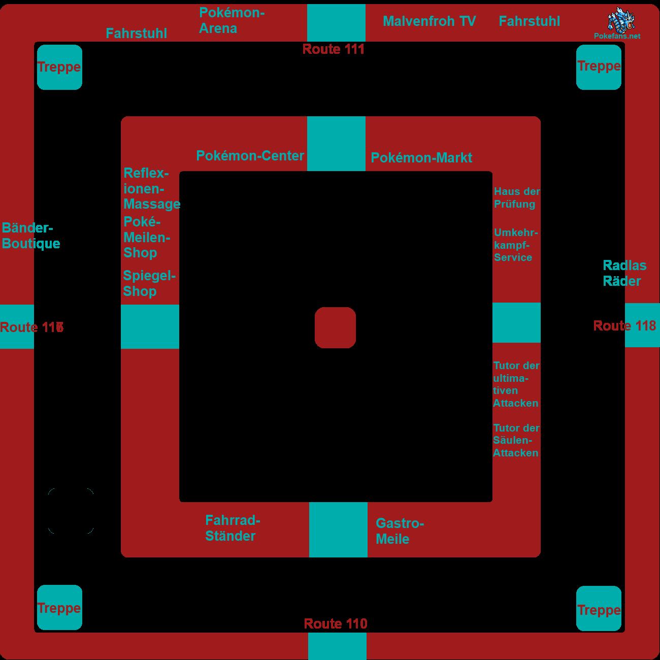 Beschriftete Karte von Malvenfroh City