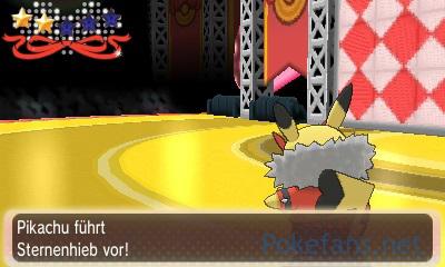 Rocker-Pikachu nutzt Sternenhieb im Wettbewerb