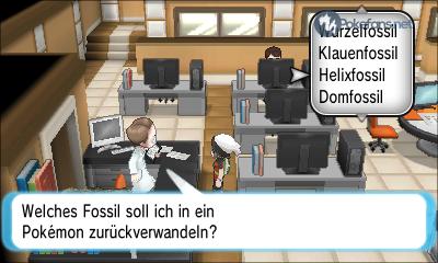Fossil in Pokémon verwandeln