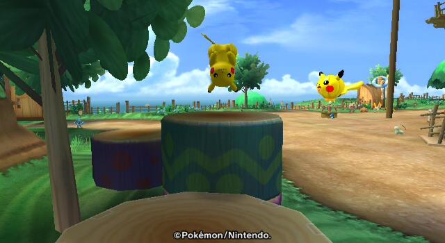 Pikachu springt von einer Plattform zur nächsten