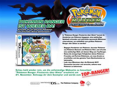 Offizielle Website zu Pokémon Ranger: Finsternis über Almia