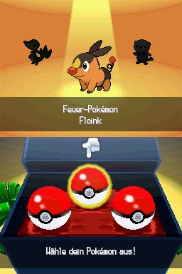 Wahl des Starter-Pokémon in der schwarzen und weißen Editione