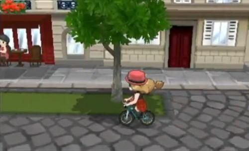 Die Protagonistin auf einem Fahrrad