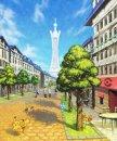 Pikachu | Artwork | Pikachu, Igamaro, Fynx und Froxy auf einem Artwork zu Illumina City.