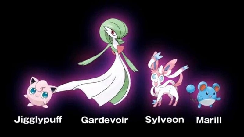 Guardevoir, Marill und Pummeluff neben Feelinara als neue Fee-Typ-Pokémon