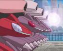 Genesect | Pokémon-Film | Die Genesect stehen in einer Reihe und greifen nacheinander an.