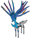 Xerneas | Artwork | Hacker Smealum veröffentlicht ein Modell eines Shiny-Xerneas. Der Hals hat die Farbe eines kräftigen Blaus, die Farbe der Beine und des Rückens fehlen.