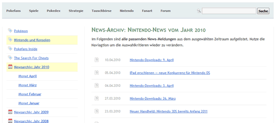News-Archiv von Pokefans (Screenshot)