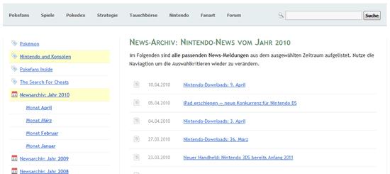 News-Archiv von Pokefans (Screenshot)